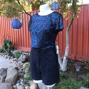 Adrianna Papell Sequin Top Navy 6-10
